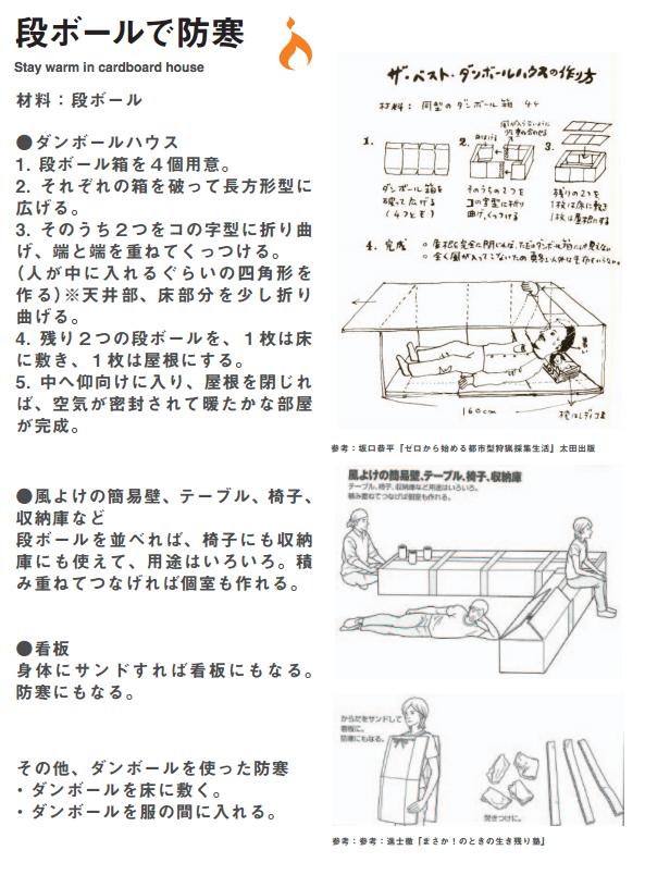 OLIVE PAPER vol.1の「段ボールで防寒」 (出所:OLIVE Webサイト)